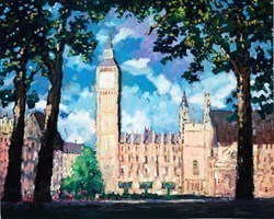 Summer in Parliament Square by Timmy Mallett -  sized 30x24 inches. Available from Whitewall Galleries